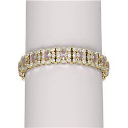 30.94 ctw Morganite & Diamond Bracelet 18K Yellow Gold
