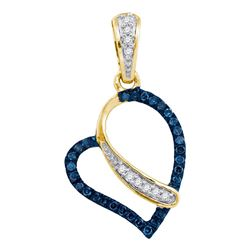 10kt Yellow Gold Round Blue Color Enhanced Diamond Heart Pendant 1/8 Cttw