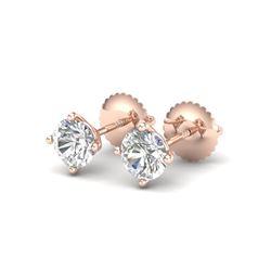 1.01 ctw VS/SI Diamond Solitaire Art Deco Stud Earrings 18K Rose Gold