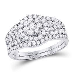 14kt White Gold Round Diamond Flower Cluster Bridal Wedding Engagement Ring Band Set 1.00 Cttw