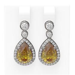 2.4 ctw Canary Citrine & Diamond Earrings 18K White Gold