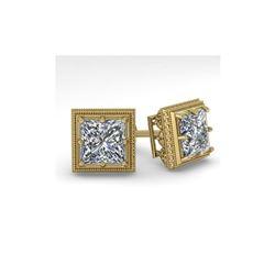 2.0 ctw VS/SI Princess Diamond Stud Earrings 14K Yellow Gold