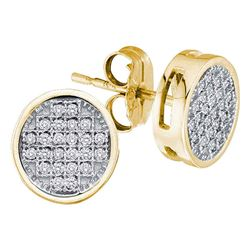 10kt Yellow Gold Round Diamond Circle Cluster Earrings 1/10 Cttw