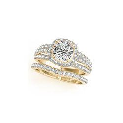 2.44 ctw Certified VS/SI Diamond 2pc Wedding Set Halo 14K Yellow Gold