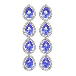 11.2 ctw Tanzanite & Diamond Micro Pave Halo Earrings 10K White Gold