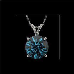 2.50 ctw Certified Intense Blue Diamond Necklace 10K White Gold