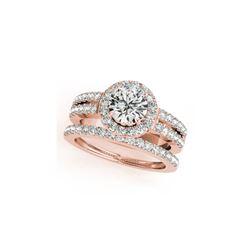 1 ctw Certified VS/SI Diamond 2pc Wedding Set Halo 14K Rose Gold