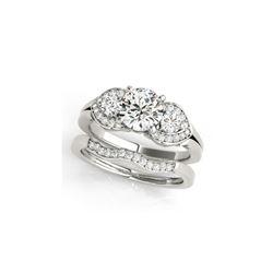 1.55 ctw VS/SI Diamond 3 Stone 2pc Wedding Set 14K White Gold