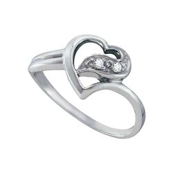 14kt White Gold Round Diamond Simple Heart Ring 1/20 Cttw