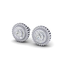 2.61 ctw VS/SI Diamond Solitaire Art Deco Stud Earrings 18K White Gold