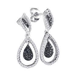 10kt White Gold Round Black Color Enhanced Diamond Teardrop Dangle Earrings 1/2 Cttw