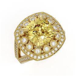 7.22 ctw Canary Citrine & Diamond Victorian Ring 14K Yellow Gold