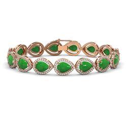 16.55 ctw Jade & Diamond Micro Pave Halo Bracelet 10K Rose Gold