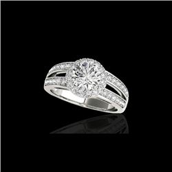 1.6 ctw Certified Diamond Solitaire Halo Ring 10K White Gold