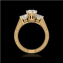 2.01 ctw VS/SI Diamond Solitaire Art Deco 3 Stone Ring 18K Yellow Gold