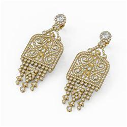 7.5 ctw Diamond Designer Earrings 18K Yellow Gold