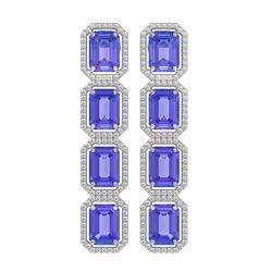 19.39 ctw Tanzanite & Diamond Micro Pave Halo Earrings 10K White Gold