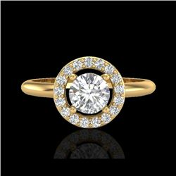 .75 ctw Micro Pave Halo VS/SI Diamond Certified Ring 18K Yellow Gold