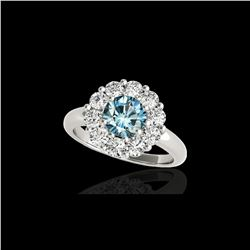 2.09 ctw SI Certified Fancy Blue Diamond Halo Ring 10K White Gold