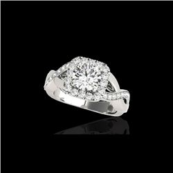 1.65 ctw Certified Diamond Solitaire Halo Ring 10K White Gold