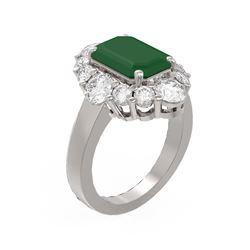 8.54 ctw Emerald & Diamond Ring 18K White Gold