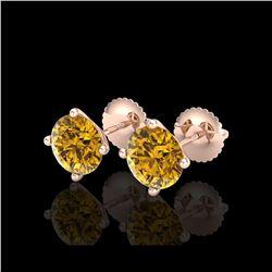 2.5 ctw Intense Fancy Yellow Diamond Art Deco Earrings 18K Rose Gold