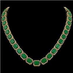 84.94 ctw Emerald & Diamond Micro Pave Halo Necklace 10K Yellow Gold