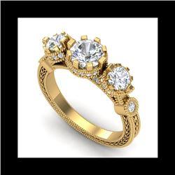 1.75 ctw VS/SI Diamond Solitaire Art Deco 3 Stone Ring 18K Yellow Gold