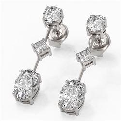 2.32 ctw Oval Cut Diamond Designer Earrings 18K White Gold