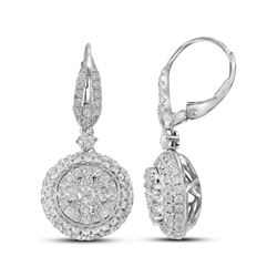 14kt White Gold Round Diamond Circle Cluster Dangle Earrings 2-1/5 Cttw