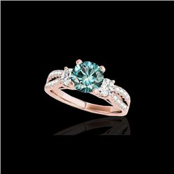 1.5 ctw SI Certified Fancy Blue Diamond 3 Stone Ring 10K Rose Gold