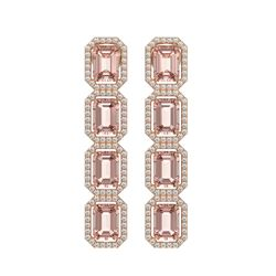 10.73 ctw Morganite & Diamond Micro Pave Halo Earrings 10K Rose Gold