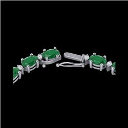 55.5 ctw Emerald & VS/SI Certified Diamond Eternity Necklace 10K White Gold