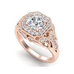 1.75 ctw VS/SI Diamond Solitaire Art Deco Ring 18K Rose Gold