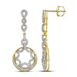 10kt Yellow Gold Round Diamond Starburst Circle Dangle Screwback Earrings 1/2 Cttw