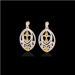 7 ctw Yellow Sapphire and Diamond Heart Earrings 14K Rose Gold