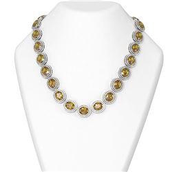 107.96 ctw Citrine & Diamond Necklace 18K White Gold