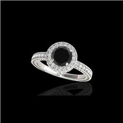 1.51 ctw Certified VS Black Diamond Solitaire Halo Ring 10K White Gold