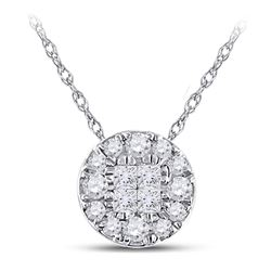 14kt White Gold Princess Diamond Fashion Cluster Pendant 1/4 Cttw