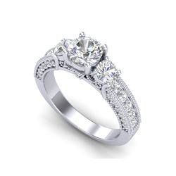 2.07 ctw VS/SI Diamond Solitaire Art Deco 3 Stone Ring 18K White Gold