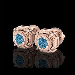 1.11 ctw Fancy Intense Blue Diamond Art Deco Earrings 18K Rose Gold