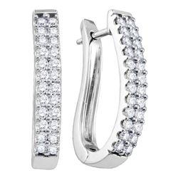 14k White Gold Round Pave-set Diamond 2-row Oblong Hoop Earrings 1.00 Cttw