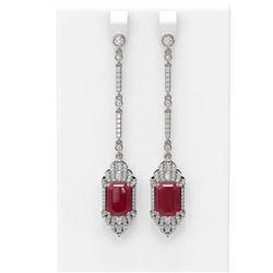 13.65 ctw Ruby & Diamond Earrings 18K White Gold