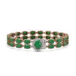 30.12 ctw Emerald & Diamond Bracelet 14K Rose Gold