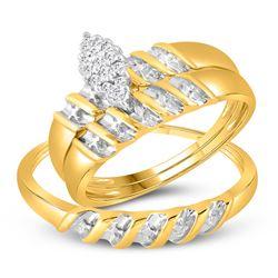 10k Yellow Gold Diamond Marquise-shape Cluster Bridal Wedding Trio Mens Ring Band Set