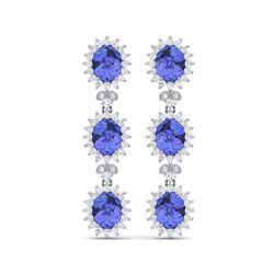 25.36 ctw Tanzanite & VS Diamond Earrings 18K White Gold