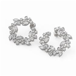 8.12 ctw Marquise and Pear Diamond Earrings 18K White Gold