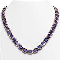 58.59 ctw Sapphire & Diamond Micro Pave Halo Necklace 10K Rose Gold