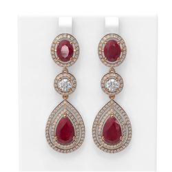 15.92 ctw Ruby & Diamond Earrings 18K Rose Gold