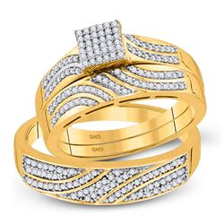 10kt Yellow Gold His & Hers Round Diamond Square Cluster Matching Bridal Wedding Ring Band Set 3/8 C